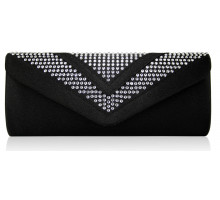 Psaníčko Black Diamante Evening Clutch Bag - černé