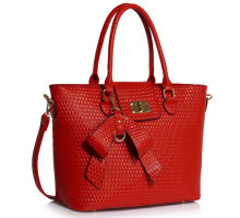 Kabelka L&S Fashion Red Grab Bag With Bow Charm