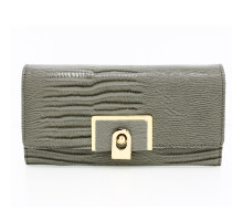 Peněženka Grey Flap Purse With Gold Metal Work