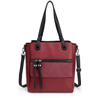 Kabelka Burgundy Front Pocket Tassel Shoulder Bag With Black Metal Work
