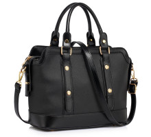 Kabelka L&S Fashion Black Buckle Detail Tote Shoulder Bag - černá