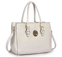 Kabelka White Metal Detail Grab Tote Handbag