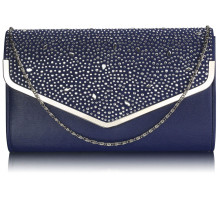 Psaníčko Navy Large Diamante Flap Clutch purse