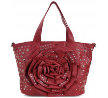 Kabelka Red Flower Tote With Studs Detailing