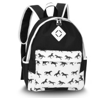 Batoh Black Horse Print Backpack School Bag