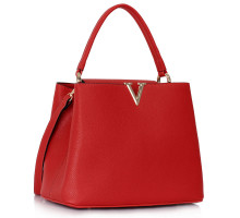Kabelka Classic Red Tote With V Shaped Metal