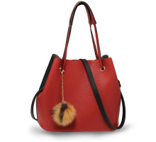 Kabelka Black / Red Hobo Bag With Faux-Fur & Tassel Charm