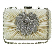 Psaníčko Beige Gorgeous Satin Rouched Brooch Hard Case Evening Bag