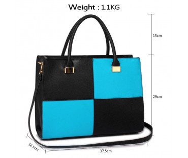 KabelkaLarge Black / Teal Fashion Tote Handbag
