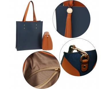 Kabelka Navy / Brown Fashion Tote Bag With Tassel - modrá