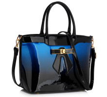 Kabelka Navy Patent Two-Tone Bow Front Handbag