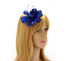 Ozdoba do vlasů Royal Blue Feather & Flower Fascinator On Clip