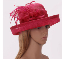 Klobouček Fuchsia Mesh Hat Feather Fascinator