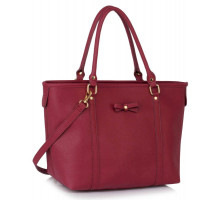 Kabelka Burgundy Decorative Bow Tie Tote Shoulder Bag