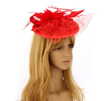 Klobouček Red Mesh Hat Feather Fascinator