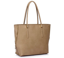 Kabelka Taupe Zipper Detail Shoulder Bag