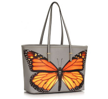 Kabelka Grey Colorful Dragonflies Print Tote Shoulder Bag