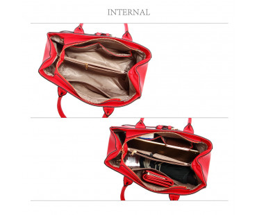 Kabelka Red Tote Handbag Features Buckle Belts