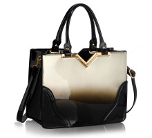 Kabelka Silver Patent Two-Tone V Cut Tote