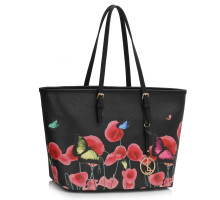 Kabelka Black Large Butterfly Print Tote Bag