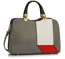 Kabelka Grey/White/Red Colour Block Patchwork Grab Bag