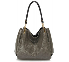 Kabelka Grey Snake Effect Shoulder Bag - šedá