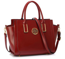 Kabelka Burgundy Metal Detail Grab Tote Handbag