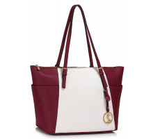 Kabelka Burgundy / White Women's Large Tote Bag