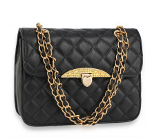 Kabelka Black Cross Body Bag With Gold Metal Work