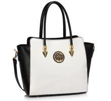 Kabelka Black/White Polished Metal Shoulder Handbag