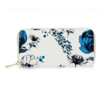 Peněženka White / Blue Floral Print Zip Around Purse / Wallet