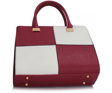 Kabelka Burgundy/White Fashion Tote Handbag