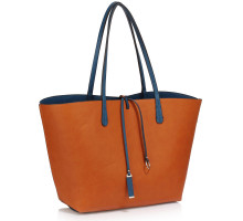 Kabelka Reversible Navy/Brown Large Tote Bag - Fits laptops up to 15.4''