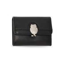 Peněženka Black Flap Metal Owl Design Purse / Wallet