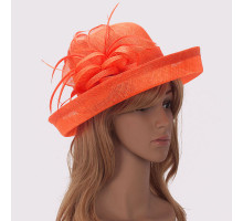 Klobouček Orange Mesh Hat Feather Fascinator