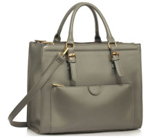 Kabelka Grey Front Pocket Grab Tote Handbag
