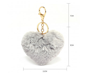 Přívěsek Grey Fluffy Heart Bag Charms