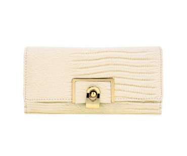 Peněženka Beige Flap Purse With Gold Metal Work