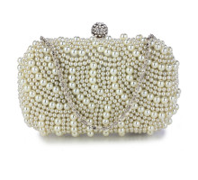 Psančko Ivory Beaded Pearl Rhinestone Clutch Bag