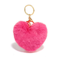 Přívěsky na kabelku Hot Pink Fluffy Heart Bag Charms