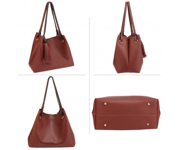 Kabelka Burgundy Women's Fashion Hobo Bag With Pouch