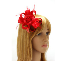 Ozdoba do vlasů Red Feather & Flower Hair Fascinator On Clip