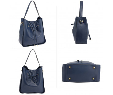 Kabelka Navy Drawstring Tote Bag With Pouch
