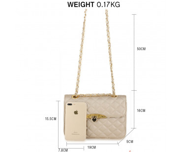 Kabelka Champagne Cross Body Bag With Gold Metal Work