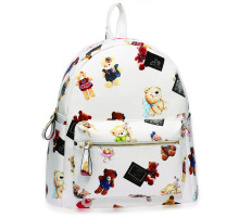 Batoh White Teddy Bear Print Backpack School Bag