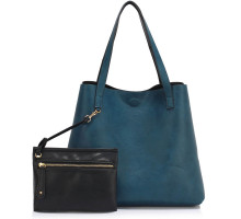 Kabelka L&S Fashion Black / Navy Reversible Tote Shoulder Handbag