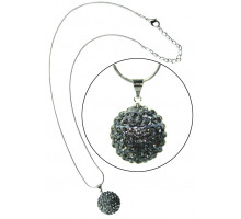 Náhrdelník Grey Sparkling Disco Ball Necklace