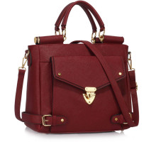 Kabelka L&S Fashion Burgundy Twist Lock Flap Grab Tote