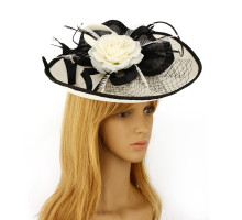 Klobouček Ivory / Black Feather & Flower Mesh Hat Fascinator