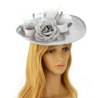 Klobouček Grey Flower Mesh Hat Fascinator